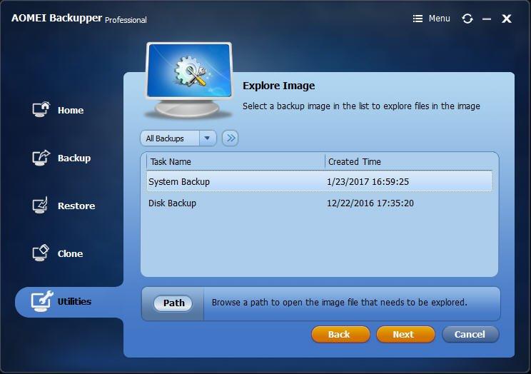 Select Backup Image