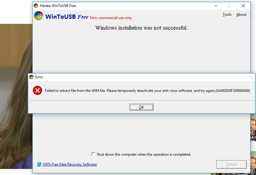 windos to go issue by inexisted anti virus aomei forum