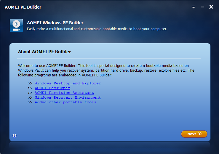 Create Bootable CD or ISO File by AOMEI PE Builder