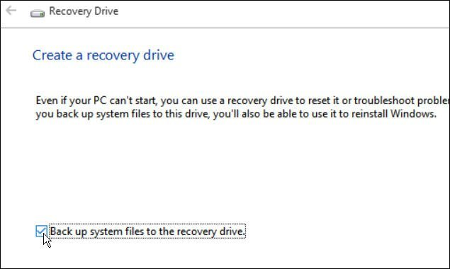 Back up to the Recovery Drive